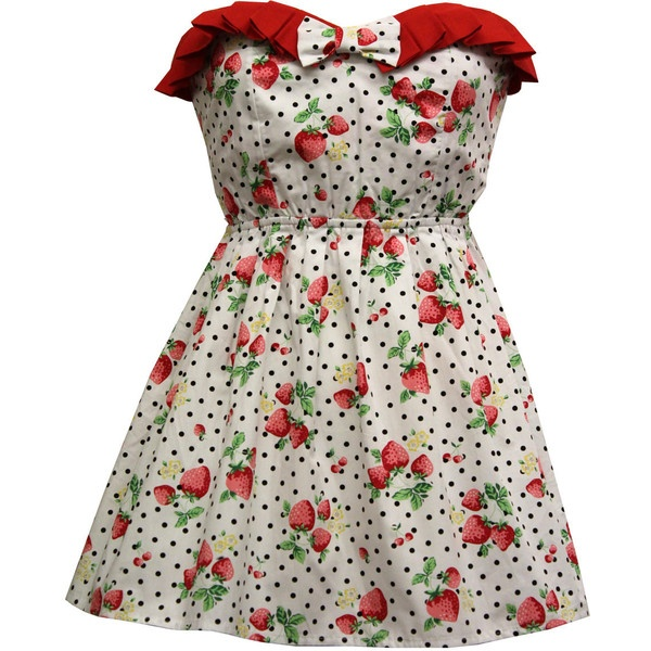 Betty 1950s style strawberry print dress ($56) ❤ liked on Polyvore