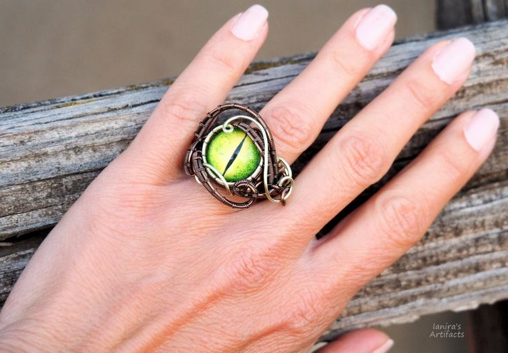 Rings for women Green dragon eye wire wrapped ring Dragons serpent statement ring unique unusual handmade jewelry bronze Thank you gift