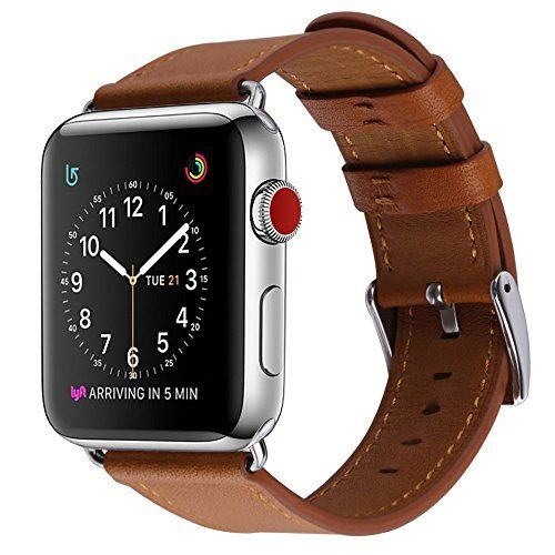 Apple Watch Band COVERY 38MM iWatch Band Genuine Leather Strap Stainless Metal Buckle for Apple Watch Series 3 Series 2 Series 1 Sport & Edition- Brown