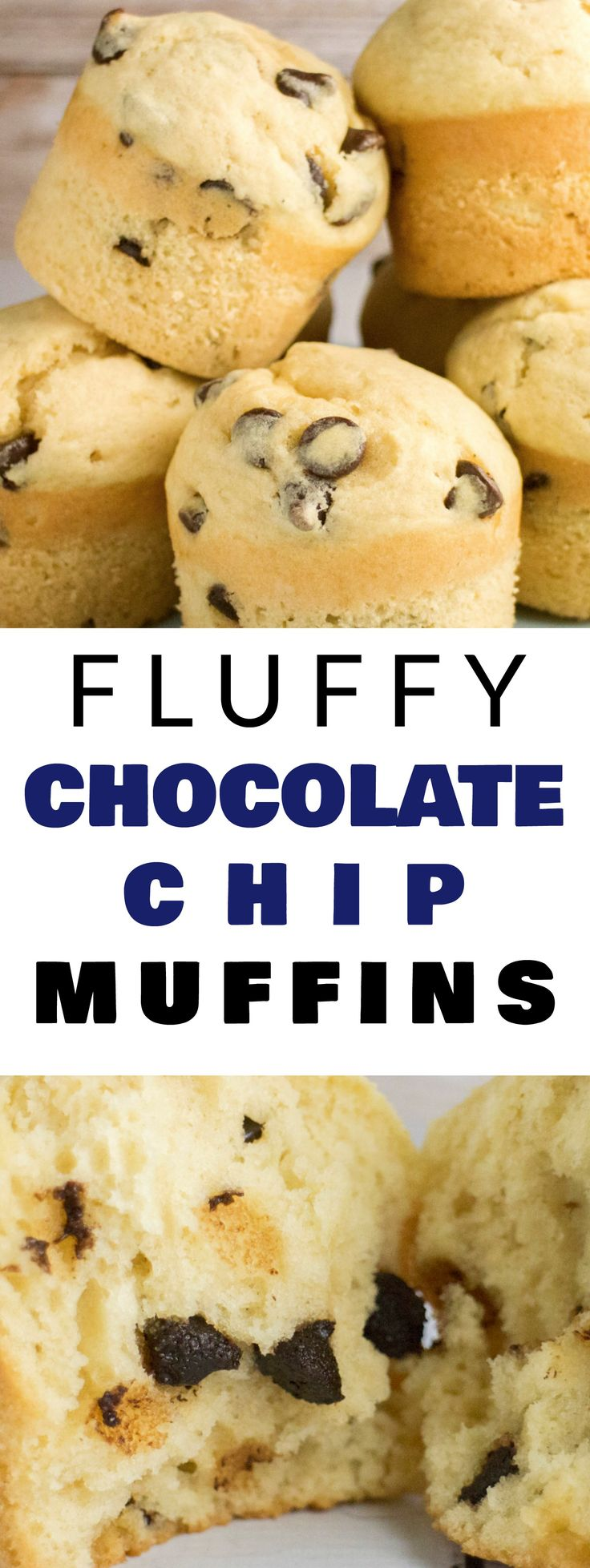 FLUFFY and EASY to make Chocolate Chip Muffins! This homemade recipe is my family's favorite! It makes delicious, moist muffins that are filled with chocolate chips! Make these light tasting yummy muffins for breakfast, snacks on the go or dessert!