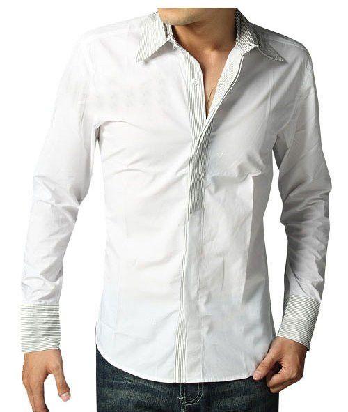 Fashion men's clothing long-sleeved white shirts black shirt for men formal wear