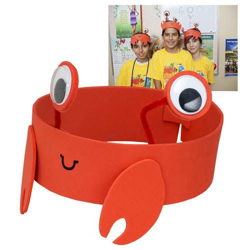 VBS-Surf Shack-Snappy Crab Headbands (Pkg-6)