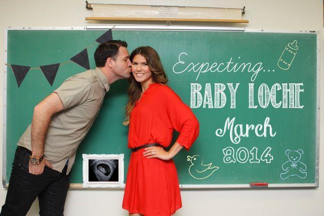 Pregnancy Announcement:: Vintage Chalkboard Wall, Teacher, Baby Announcement, Sonogram Picture, March