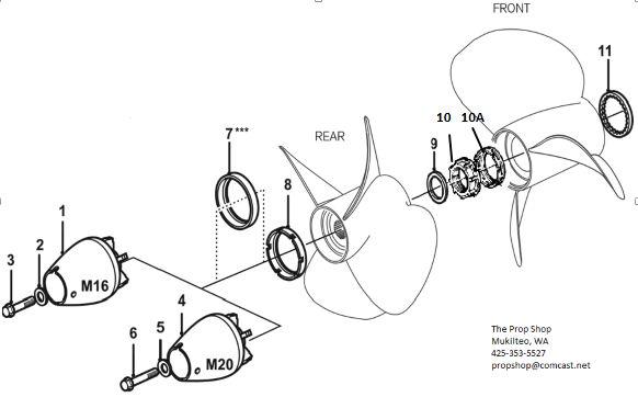 Volvo Penta 280DP & 290DP Propeller attaching hardware
