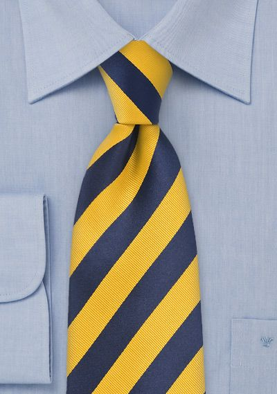 Striped Tie in Yellow and Blue for Uniforms | $5 at Cheap-Neckties.com
