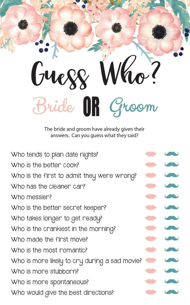 Guess Who Bridal Shower Game, Wedding Shower Games, Engagement Party Game, Floral Theme, Instant Download, Couples Shower Games, D1734
