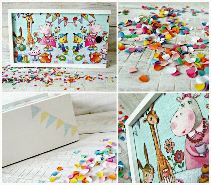 Decoupage for children. Pencil-box by decoupage technique  #decoupage, #wood, #animals, #diy,