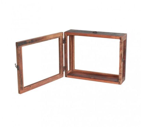 Teak hout klein vitrine kastje met aan 4 kanten glas voor aan de wand