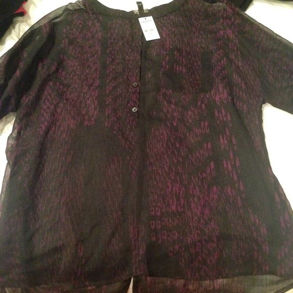 EXPRESS Half button up sheer top Black/purple top with 3/4 sleeve.  *Please note that if a item is priced $10 or under it is FIRM. There is a flat fee PM takes for all sales under $15 and that fee is $2.95. I would much rather donate an item than take less. Thank you kindly* Express Tops Blouses