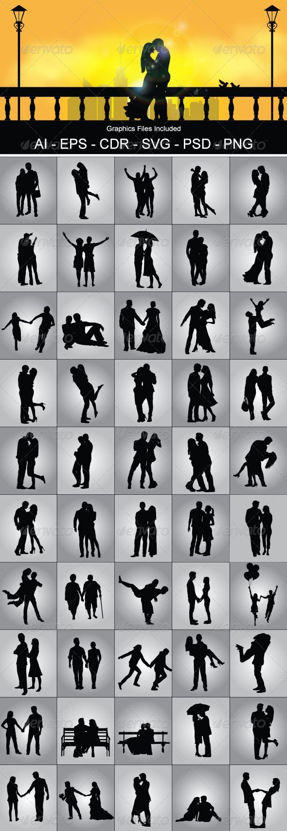 Romantic Couple Silhouette - People Characters I am going to use some of these in my art!
