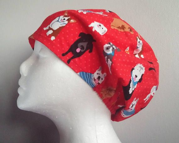 Red Good Dog Elastic Back Scrub Hat Scrub hats scrub caps