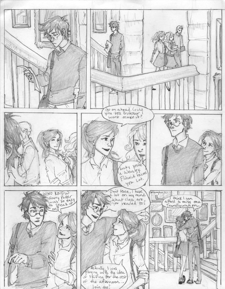 i was listening to this the other night, and i couldn't help but crank out another dialogue-less comic with Harry and Ginny. they always come out of my pencil quietly. i wonder why that is. in this...