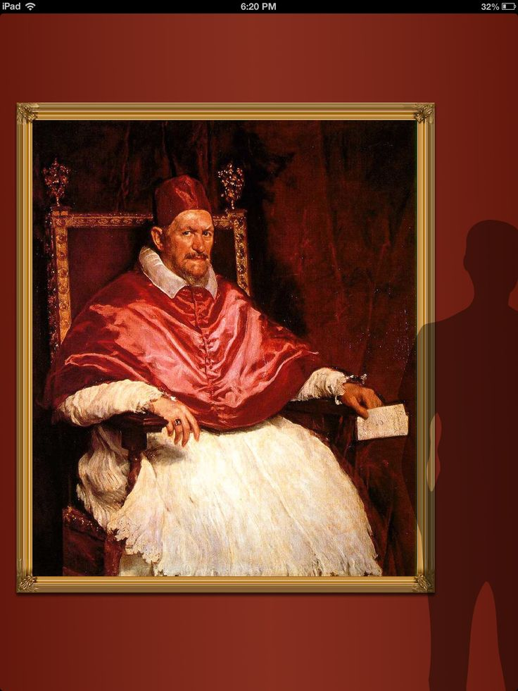 Regarded as one of the greatest examples of portraiture in the 17th century is Velázquez's depiction of Giovanni Battista Pamphilj. For a portrait, it is a large one; a person of average height reaches eye level with Innocent's stern and fearful gaze as can be seen in this Art Real Size screenshot. For more on Velazquez, visit us at  http://community.artauthority.net For more on Art Authority for iPad's new Art Real Size feature, visit: http://blog.artauthority.net/size-matters/