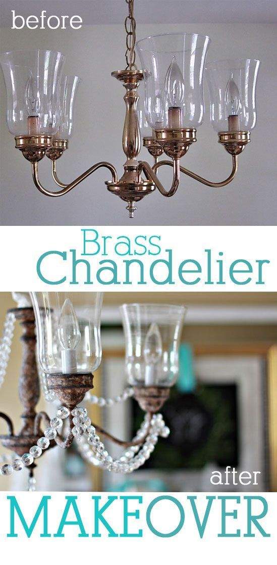Brass Chandelier Makeover that uses craft paint and crystals. Learn the easy technique to make it look elegantly rustic. | In My Own Style