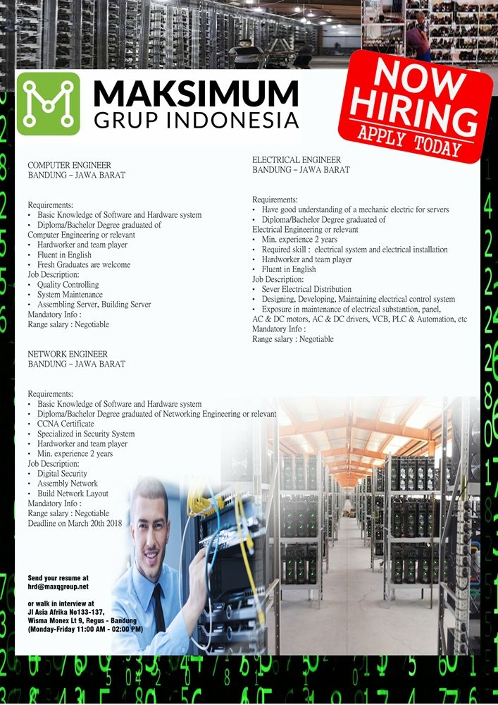 Maksimum Grup Indonesia is HIRING for Legal Officer, Electrical, Network and Computer Engineer >> http://bit.ly/2DHalwS   DEADLINE: 20 March 2018 #itbcc #karirITB #ITBcareer