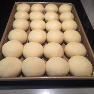 Yeast rolls formed.