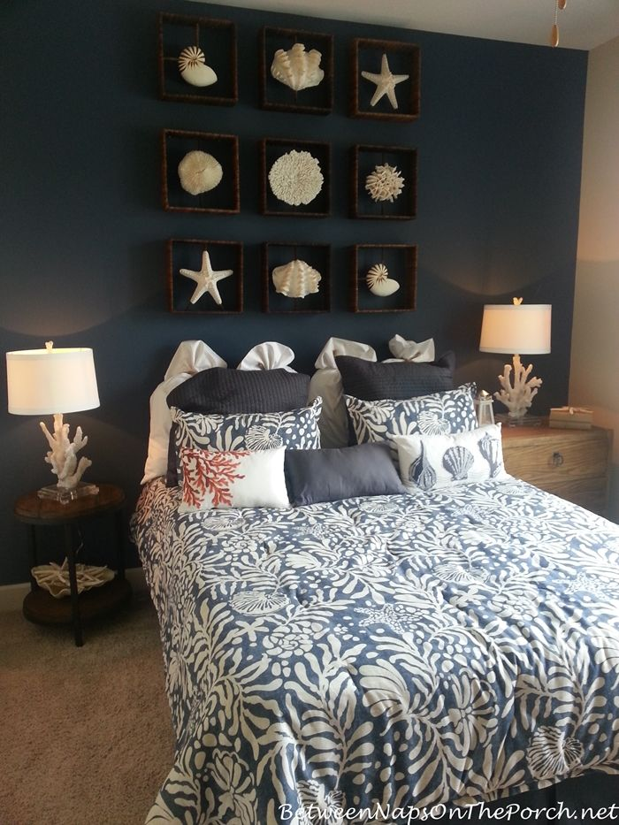 Nauticial Bedroom with Coral Lamps