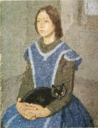 Gwen John (British painter, 1876-1939) Cat c 1908 Gwen John (British painter, 1876-1939) Girl with a Cat Gwen John (British pa...