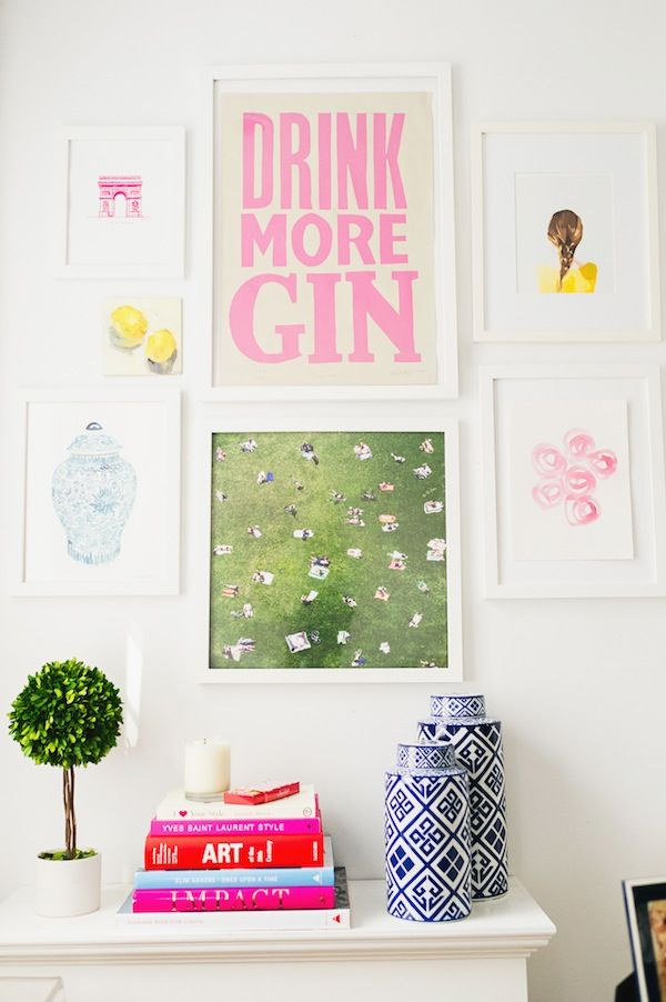 a bright & cheerful wall collage.