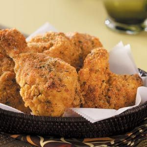 Cornmeal oven-fried chicken recipe. Made nuggets instead...Throwback to kindergarten! Subbed gf flour for the bread crumbs and milk for the buttermilk. Could use some additional spices.