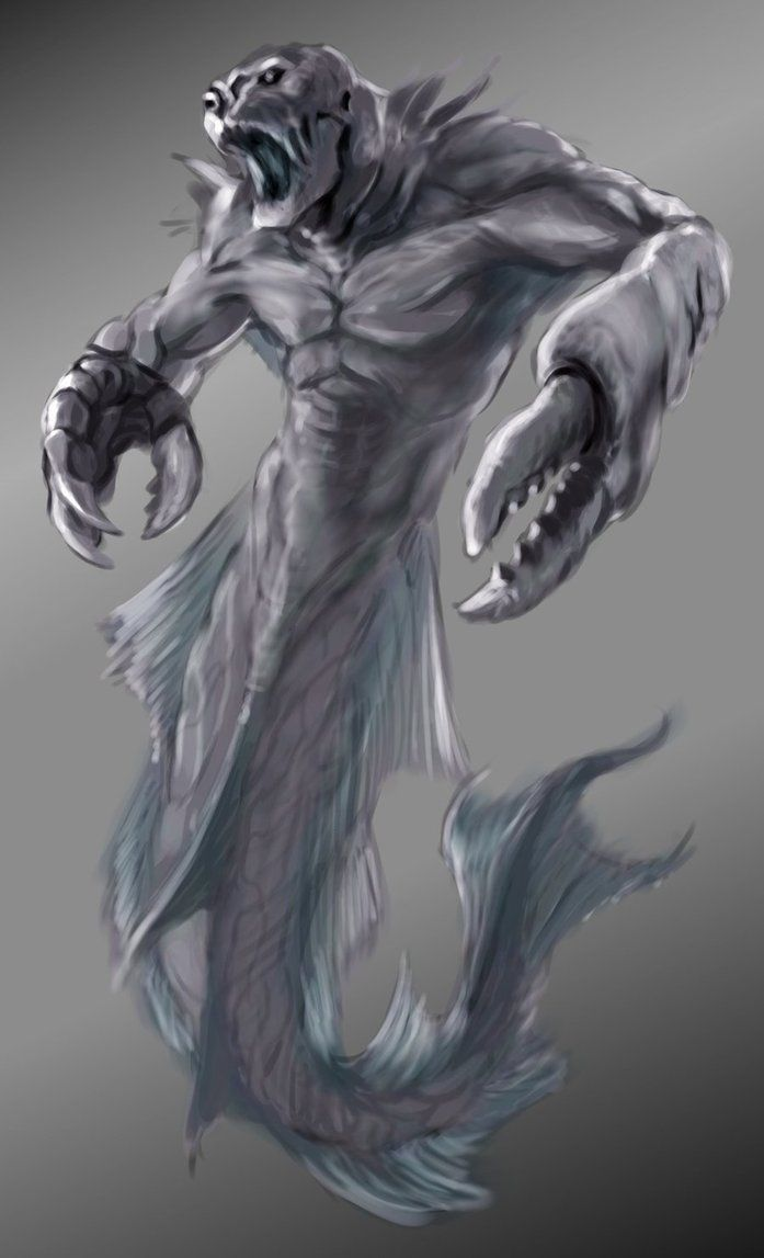 Phorcys- Greek myth: a primordial sea-god, son of Pontus and Gaia. he was depicted as a fish-tailed merman with crab-claw fore-legs and red-spiked skin. his wife was Keto with which he fathered the gorgons, the Graeae, Ladon, and Echidna.