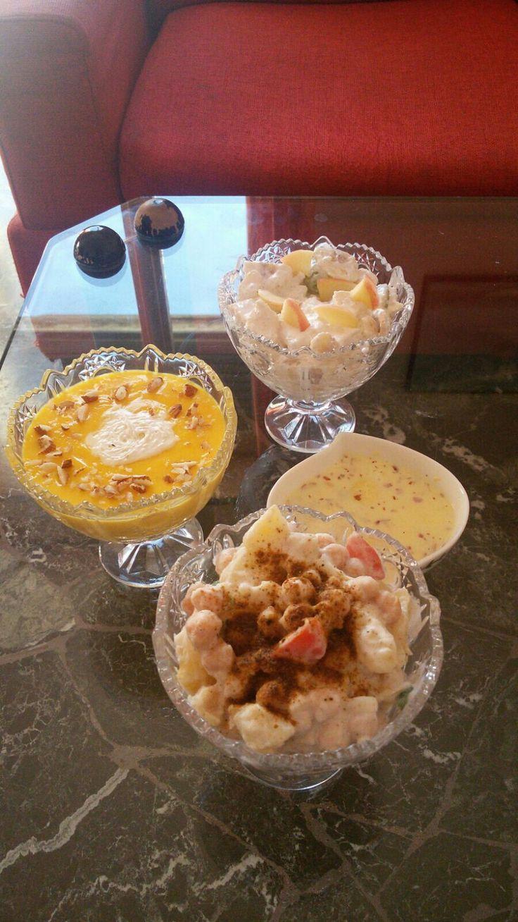 eid special chana chat, friut chat, custard, rass mlai