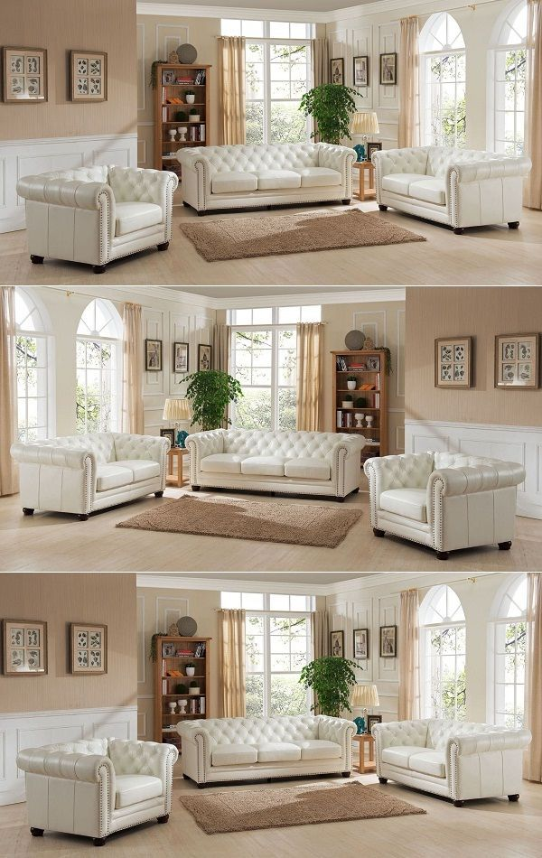 3 Piece White Leather Sofa Set Sofa Sofadesign Sofaideas Sectional Sectionalsofa Furn White Leather Sofas White Leather Sofa Set White Leather Furniture