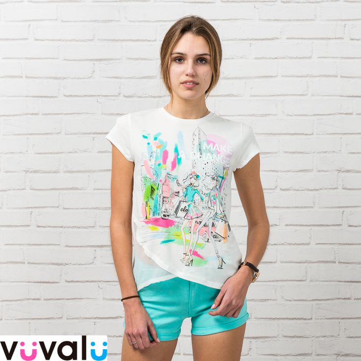 #Outfit veraniego niña junior #Mayoral de camiseta print original y short verde agua