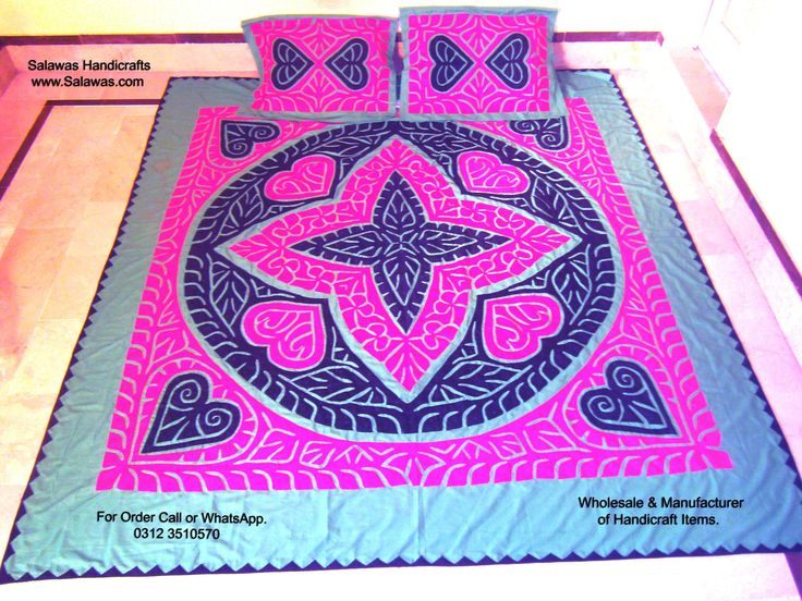 Buy Applique New 2018 Handmade Cotton Aplic Work, Patch Work Bed Sheet New 2018 Designs Available right now at discounted price. Double bed sheets #Applique #Handmade #2018 #Designs