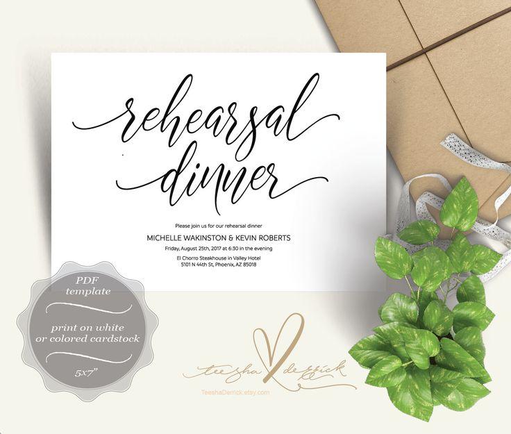 7 best Wedding Rehearsal Dinner Card Design images on Pinterest - dinner card template