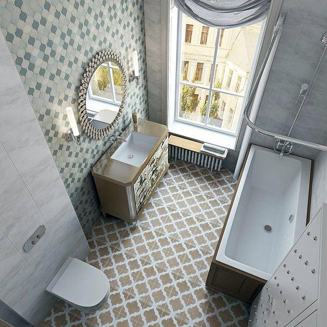 «Для такой светлой ванной комнаты одного из текущих проектов мы выбрали бирюзовые, бежевые и светло-коричневые оттенки. #enjoy_home #design #inspiration…»
