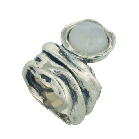 Changing Tides (CT005) Casual and refined 925 sterling silver ring with wavy textured finish topped off with round moon stone.