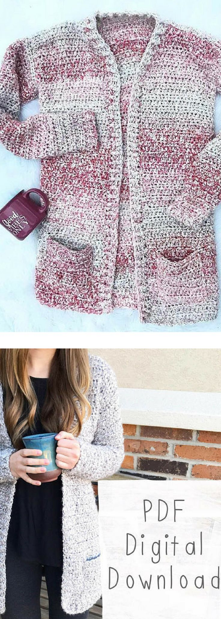The Coffeeshop Cardigan PDF DIGITAL DOWNLOAD Crochet Pattern, cozy crochet cardi pattern, women's crochet sweater pattern, homespun sweater #ad