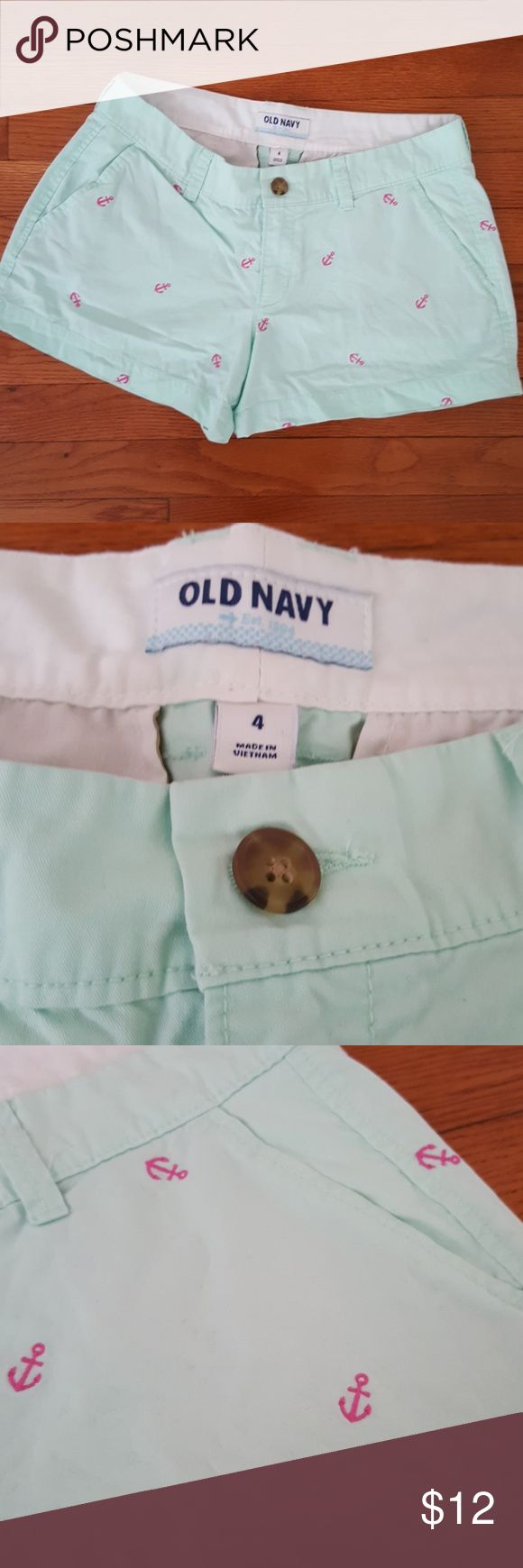 Mint Green Anchor Shorts Mint green shorts with hot pink anchors. Pockets in the front and back. Excellent condition. Old Navy Shorts