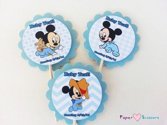 Personalizada bebé Mickey Baby Shower o 1 º por PaperHeartsScissors                                                                                                                                                                                 Más