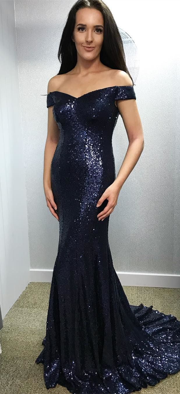 2e764841741 Mermaid Long Sequined Prom Dress Sparkle Off-the-Shoulder Navy Blue ...