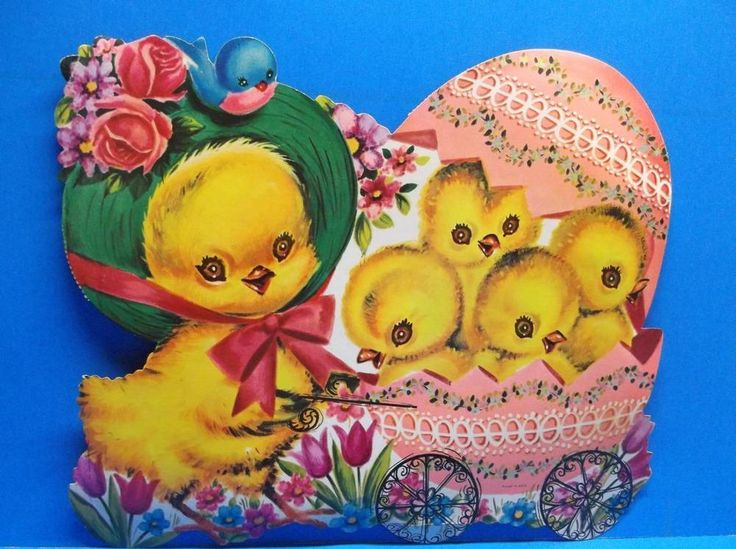 Vintage Easter Chick Mother Pushing Babies in Egg Buggy Eureka Diecut Decoration
