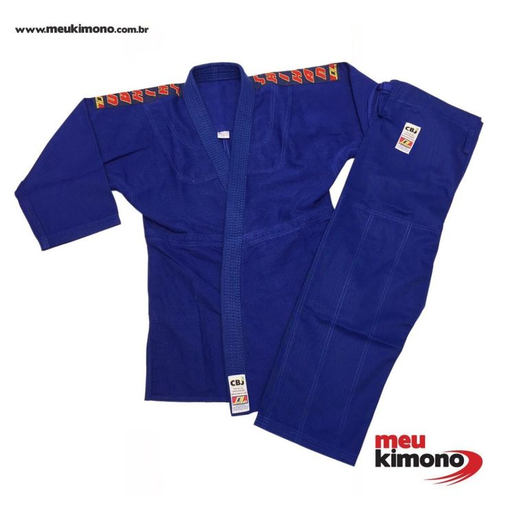 Kimono Judo Azul Trançado Oficial CBJ Shihan - Adulto - Adulto - MeuKimono.com.br