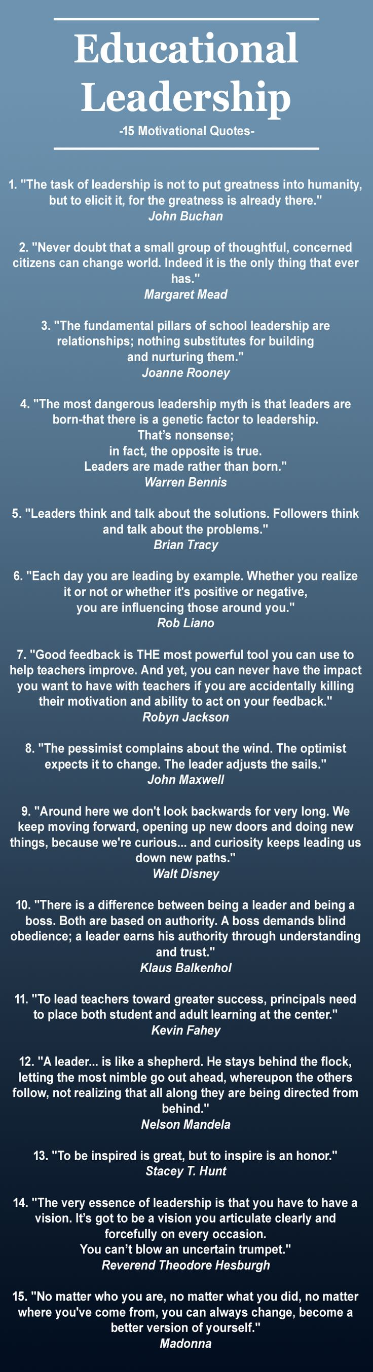 15 Motivational Quotes about Leadership selected for Educational Leaders #educationalleadership #quotes #leadershipquotes