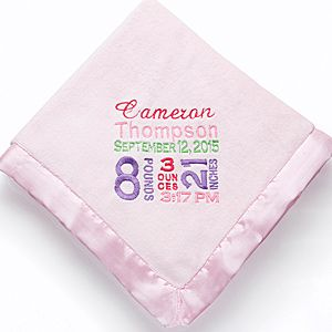 Personalized Baby Blankets for Girls - Birth Announcement - Baby Gifts