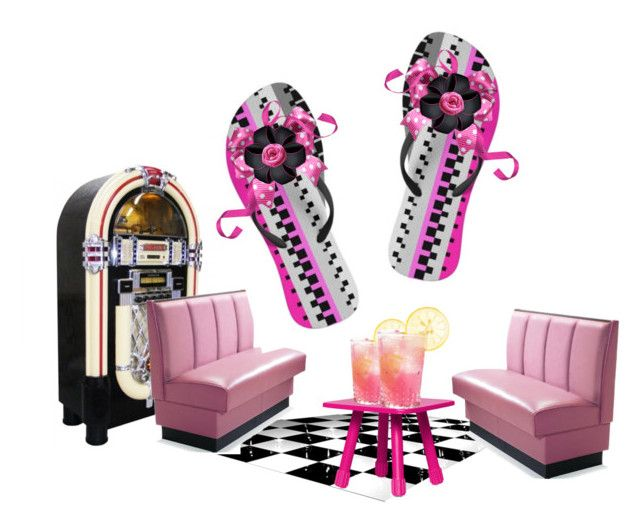 Decorated Pink & Black Stripe Flip-Flops by fractallicious on Polyvore featuring art