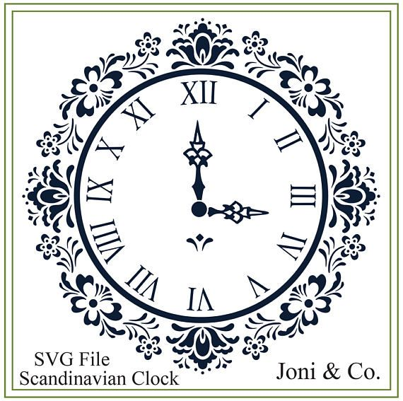 Scandinavian Clock SVG File, Swedish, Nordic svg, SVG file, vinyl cutting, printable, Clock craft ,Garden, Kitchen, Folk Art Clock design Welcome, Thank you for visiting the shop and having a look at the original artwork offered here. This is an instant download of a SVG file to be used