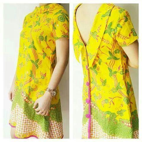 Modern yellow batik dress