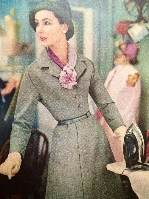1957 fashion vintage 50s 60s wool tweet dress winter black white grey model magazine