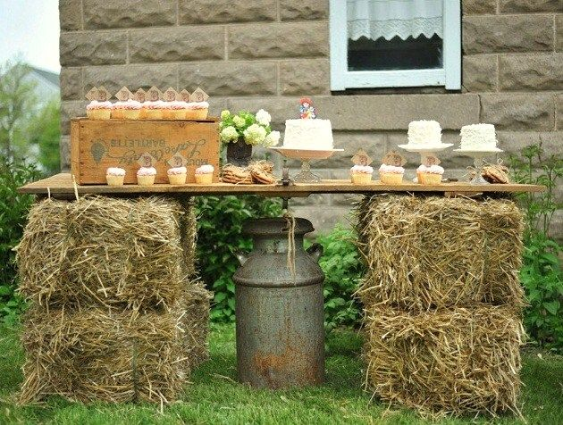 Vintage Cowgirl party...also a great way to add rustic serving tables!