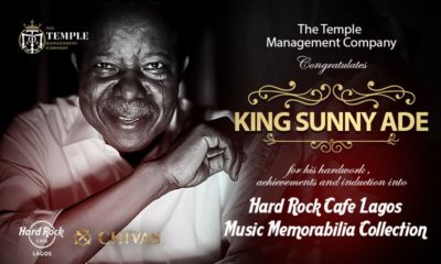 King Sunny Ade To Be Inducted Into Hard Rock Cafe Lagos Music Memorabilia Collection   Veteran Juju music maestro King Sunny Ade will officially become the first Nigerian to join the Hard Rock Cafe Lagos Music Memorabilia Collection onWednesday November 30that an induction ceremony in Lagos.  Scheduled to hold at Hard Rock Cafe Oniru KSA asSundayAdeniyi Adegeye is fondly called will donate rare items from his collections includinga vintage Fender Guitar shoes and album cover.  The…