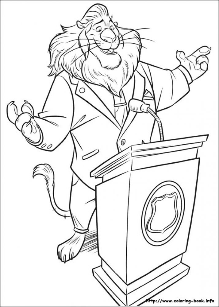 Coloring Pages For Zootopia : Mayor lionheart giving speech in printable disney zootopia