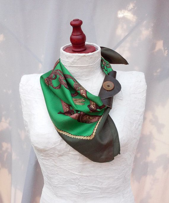 Leather scarf cuff Green scarf Genuine leather by GloberinaDesign