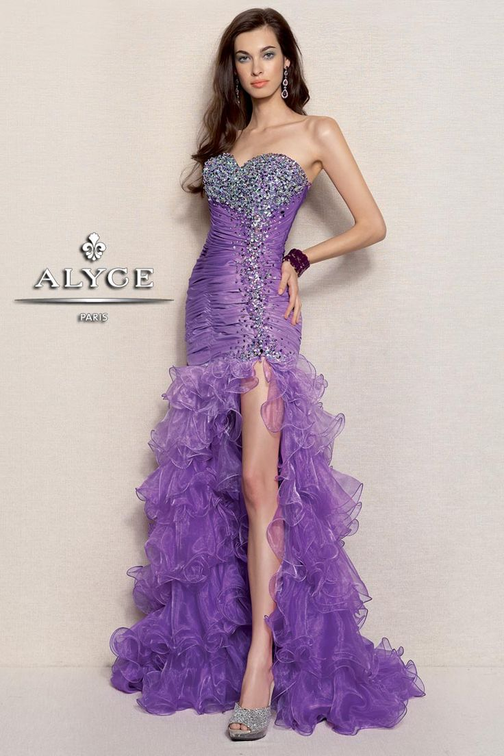 Festive Fashion look in this this ombre taffeta and organza gown featuring a mermaid ruffled skirt and strapless sequined bodice with corset back. Perfect for prom, special occasion and pageant. Alyce Paris Collection New for Spring 2013 Long Prom Dresses!