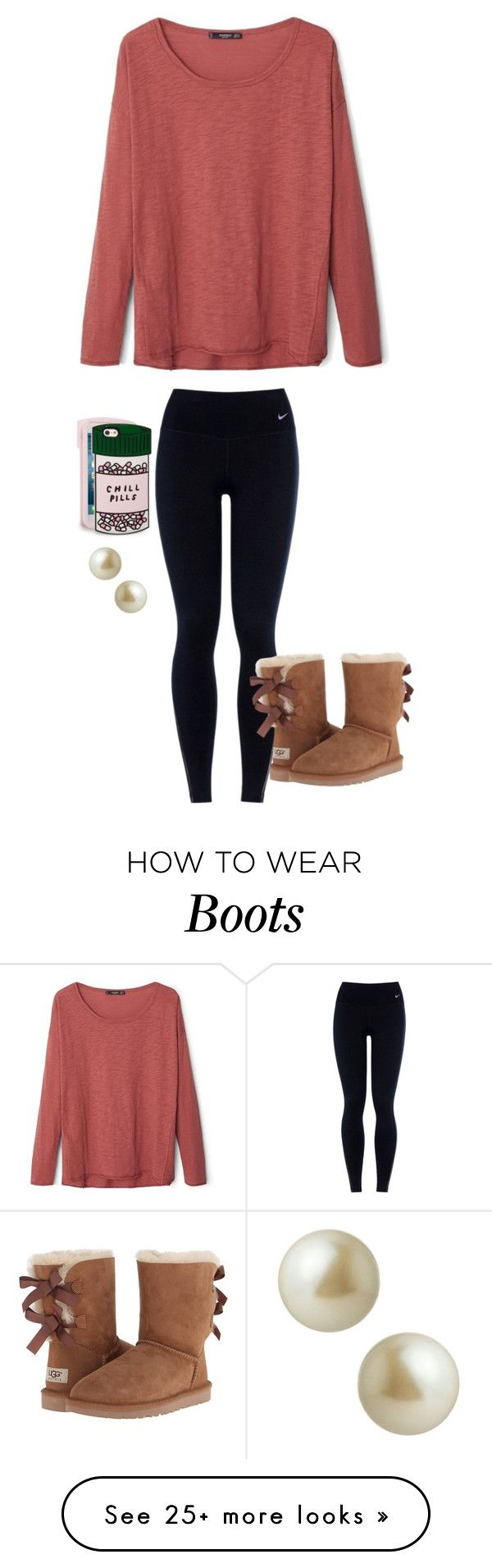 """Does anyone have these boots?"" by avaodom on Polyvore featuring moda, MANGO, NIKE, UGG Australia, ban.do, Carolee, women's clothing, women, female y woman"